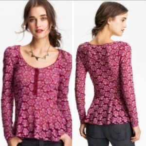 Free People Lace Peplum Henley in size small